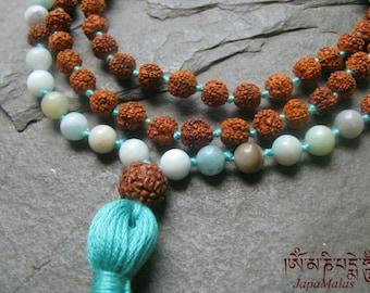 Hand knotted Rudraksha and Amazonite japa Mala 108 beads mala purified & blessed