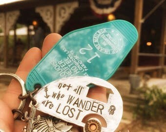 Not all who wander are lost - hand stamped - motel key fob