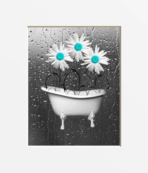 Teal gray bathroom decor teal daisy flowers raindrops teal for Bathroom ideas teal