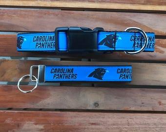 Carolina Panthers Dog Collar With Matching Key Fob