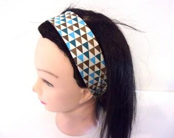 Bandeau cheveux femme imprimé turquoise et marron