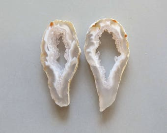 A Pair Natural Druzy Agate Geode Slices C5176