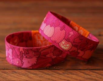 Halloween Fabric Bracelet - Bats and Pumpkins