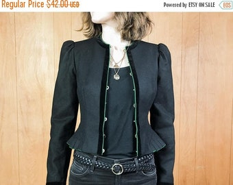 30% OFF // Peplum Jacket Wool Cropped Puffed Sleeves Green Trim ~ XS Small ~ Hey Sunshine