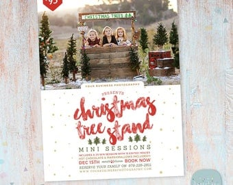 Christmas Mini Session Template - Christmas Tree Farm - Photography Marketing - Photoshop template - IC031a - INSTANT DOWNLOAD