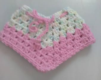 Poncho Infant Preemie Doll -Poncho-HAND-CROCHETED-Extra Small-Rainbow Pastel Pink