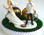 Wedding Cake Topper House Divided Team Rivalry Football Turf Topper Runaway Bride Themed Pick Your Two Teams College Pro Sports Fan w/Garter