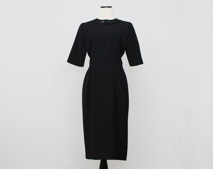 50s Black Wiggle Dress - Vintage 1950s Half Sleeve Black Dress