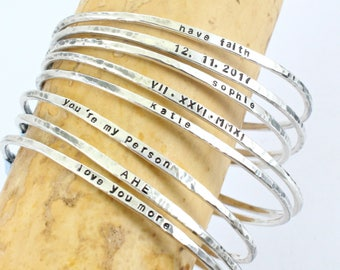 Personalized Thin Silver Cuff - Couples Bracelet -Sterling Silver bangle - Custom -Name - Date -Coordinates - Roman Numeral  Proverbs Cuff