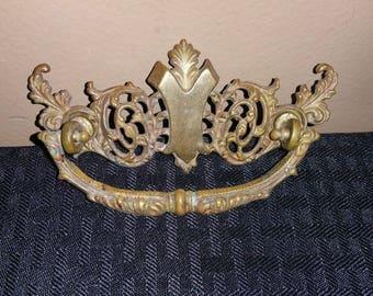 Antique Vintage Brass Drawer Pull Victorian Ornate