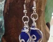 RARE dark blue beach sea glass, wire wrapped dangle earrings Genuine Cobalt Blue SeaGlass Earrings, Ocean Tumbled sea glass from P.E.I.