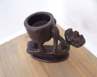 Vintage Carved Figure Bowl Holder, Hard Wood, African Sculpture, Wood Art, Wood Figurine