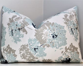 Luxury Pillow Cover - Fairy Spa Blue Decorative Throw Pillow, Modern Transitional Designer Zippered Fabric Pillow Cover