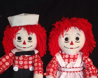 PAIR of 20 inch Raggedy Ann and Andy Dolls; Handmade, Red Hair, Red Circle Heart print, Andy With Black Pants.