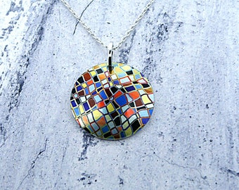 Geometric pendant, mosaic unusual necklace, handmade jewellery, Friendship gifts, gifts for women. P245