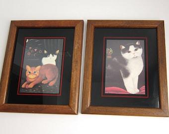 Vintage Martin Leman Cat Framed Litho Art Prints - Giftware Black White and Orange Tabby Kitty Cat Wall Art - Set of 2