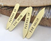 Father of the Groom Collar Stays Father of the Bride Collar Stiffener Brass Shirt Stays Nickel Copper Bronze Gift for Dad Custom Gift Men