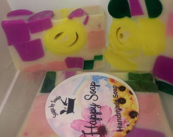 pretty rectangle bars, colorful chunky soap, lightly scented soap, glycerin soap bar