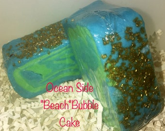 Beach scented solid bubble bar, cocoa butter bar, pretty bubble bar, Beach scent, blue green bubble bar