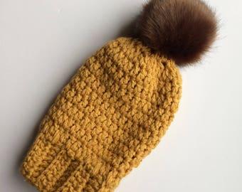 Slouchy hat-crochet slouchy hat-knit slouchy hat-mustard slouchy hat-pom pom hat-mustard pom hat-mustard hat-mustard slouchy