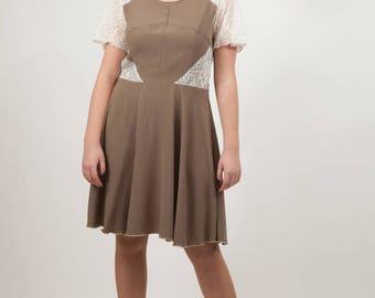 khaki with ivory lace yokes skater dress