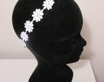Bridal white flowers lace headband