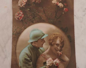Old Postcard - Vintage French 1918 Postcard - Romantic Coloured Postcard From France - Photography Collectibles