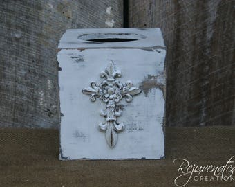 Wood Kleenex holder decorative kleenex holder fleur de lis bathroom accessories wedding gifts housewarming gifts shabby chic decor