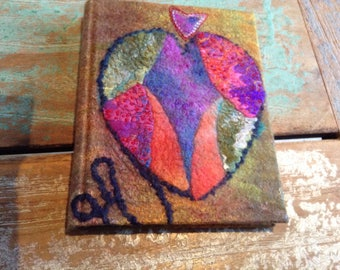 Handfelted and embroidered, binded book