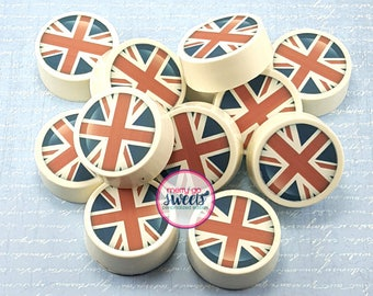 Chocolate Covered Oreos // Union Jack // Edible Print // edible image // British themed party // union jack favors // British flag favors