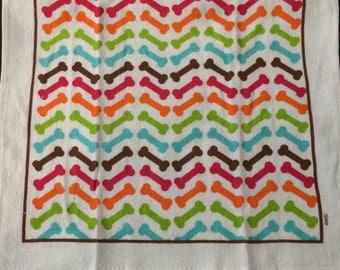 Bright Colorful Chevron Pattern with  Bones Crochet Top Towel  (R14)