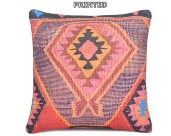 oriental pillow 18x18 pink kilim pillow yellow pillow case oriental pillow cover red throw pillow oriental decorative pillow coral rug 71-45