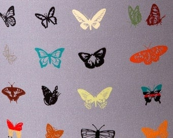 ON SALE Midnight Grey Butterfly Fabric by the Metre