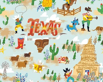 The State of Texas C5411 Blue Cotton Fabric by Riley Blake! [Choose Your Cut Size]