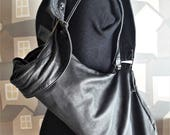 Black Leather Backpack, Upcycled Leather Bag, Unisex Upcycled Backpack, Verastile Black Leather Bag