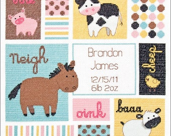 """Dimensions Barn Babies Baby Birth Record Counted Cross Stitch Craft Kit 12""""x12"""" Baby Hugs New In Package"""
