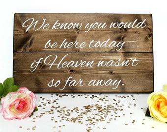 If Heaven Wasn't So Far Away Wedding Sign