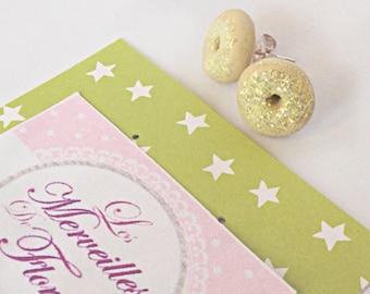 Glitter yellow donuts Stud Earrings