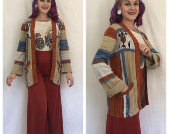 Vintage 1970's Space Dyed Cardigan with Wheat Stitch Detail