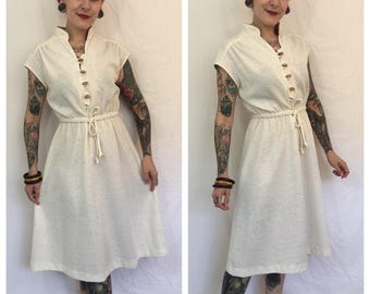 Vintage 1970's Speckled Dress with Wooden Buttons