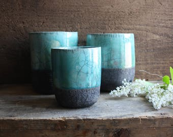 Set of blue Raku Ceramic vase handmade