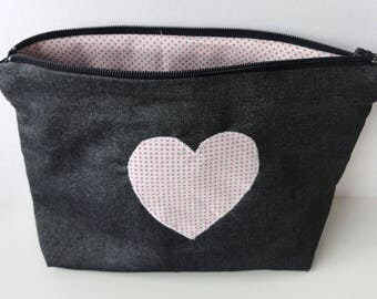 Kit in denim with heart polka dot fabric