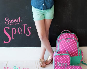 """Monogrammed """"Dottie"""" Back to School Collection - Backpack, Lunch Tote, Pencil Case, ID Case & Lanyard"""