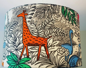 Jungle Animal Lampshade, Giraffe lampshade, elephant, monkey, tropical, flamingo, butterfly, leopard, kids bedroom, children's lampshade