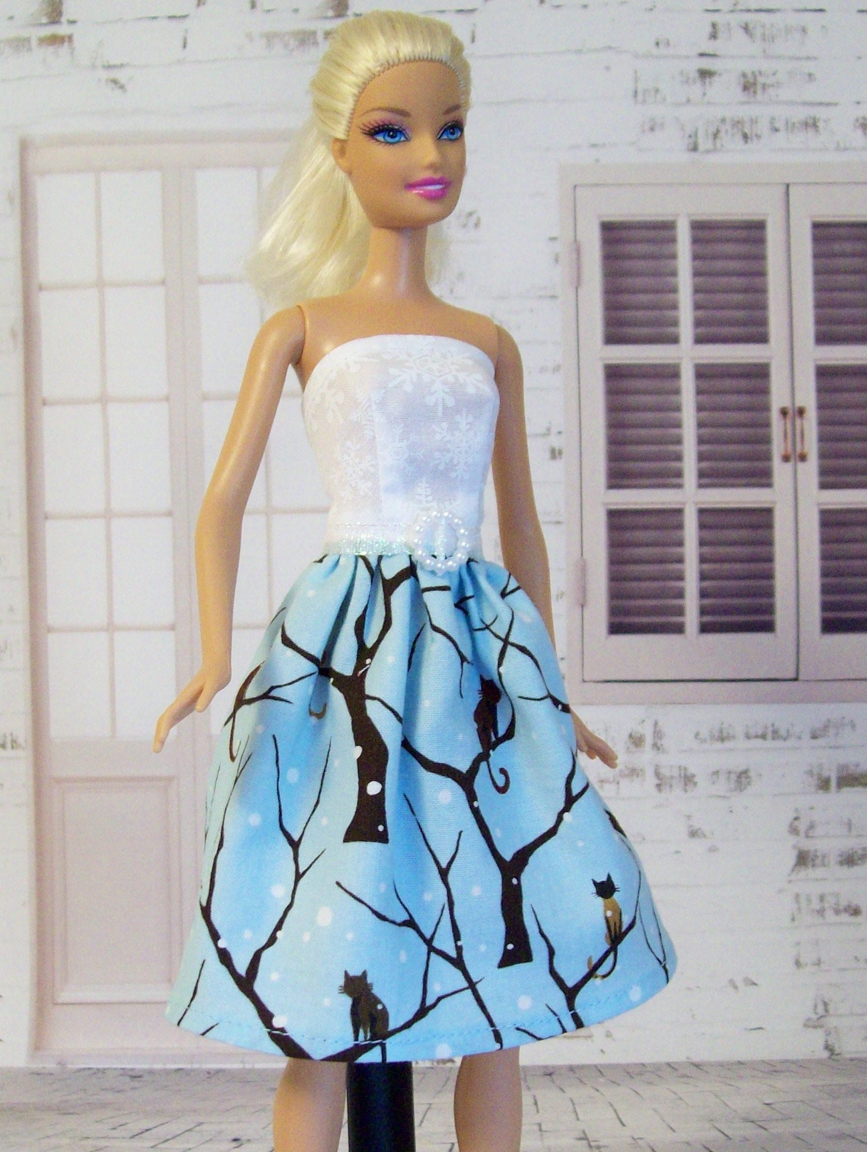 Handmade, Barbie Clothes, Blue and White, Barbie Cat Dress, Winter ...