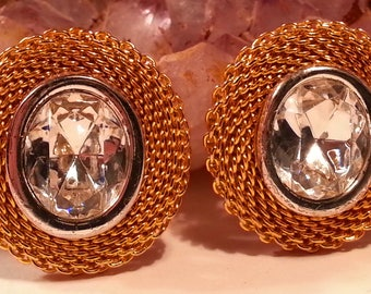 Liz Claiborne Gold Mesh & Rhinestone Earrings, Vintage Clip On Costume Jewelry