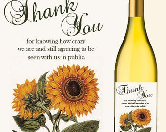 WEDDING THANK YOU  Custom Wine Labels Vintage Sunflower