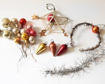 Vintage Christmas Ornament Parts Mix Mercury Glass Balls Picks Tinsel Red Pink Gold