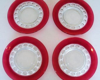 Tiffin Franciscan Four Luncheon Plates in King's Crown Ruby