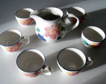 Johnson Brothers Marie Pitcher & Six Cups
